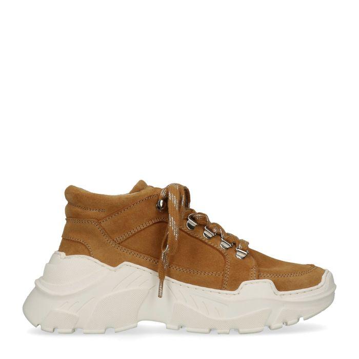 Okergele dad sneakers met witte zool