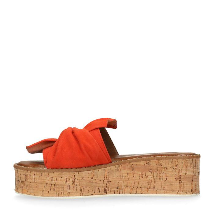 Platform slippers oranje