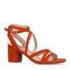 Oranje sandalen met lage hak
