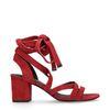 Rode suède sandalen met hak