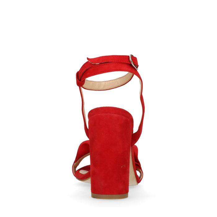 Rode sandalen met hak met ruffles