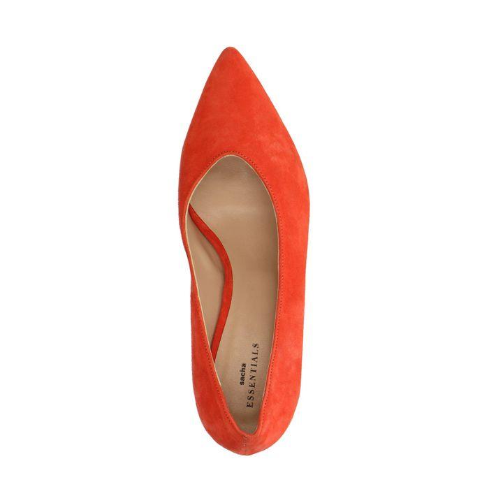 Oranje pump met lage hak