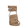 Bruine suède sandalen met hak en gespjes