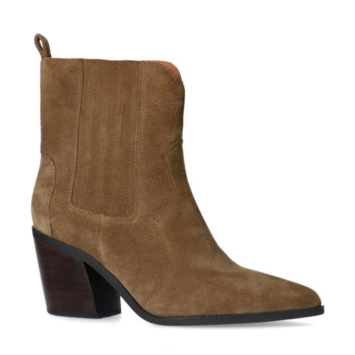 Taupe suède western boots