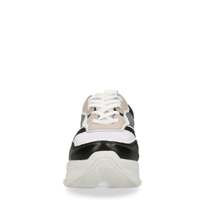 Suède dad sneakers wit/nude
