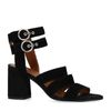 Zwarte suède sandalen met hak en gespjes
