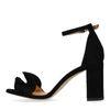 Zwarte sandalen met hak en ruffles