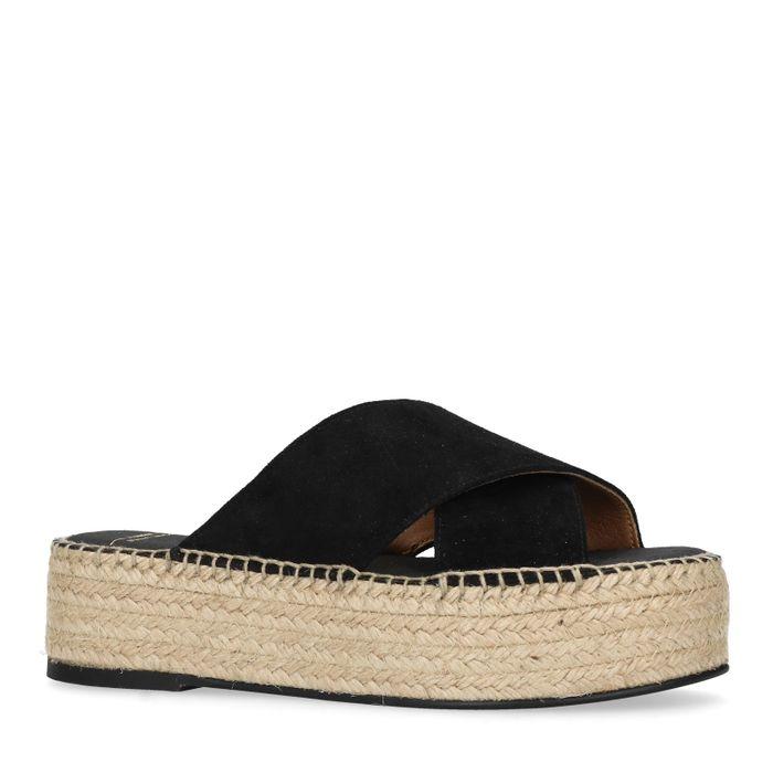 Zwarte platform slippers
