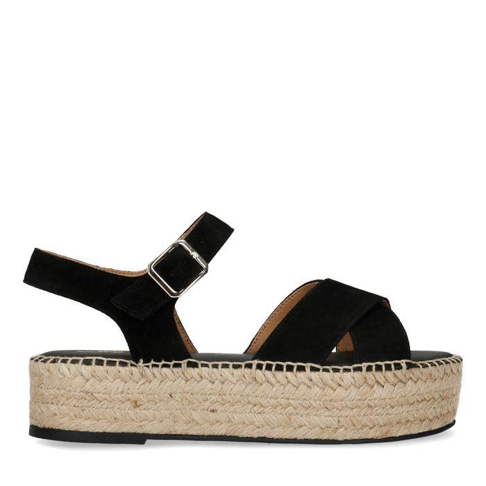 Zwarte sandalen met plateau zool
