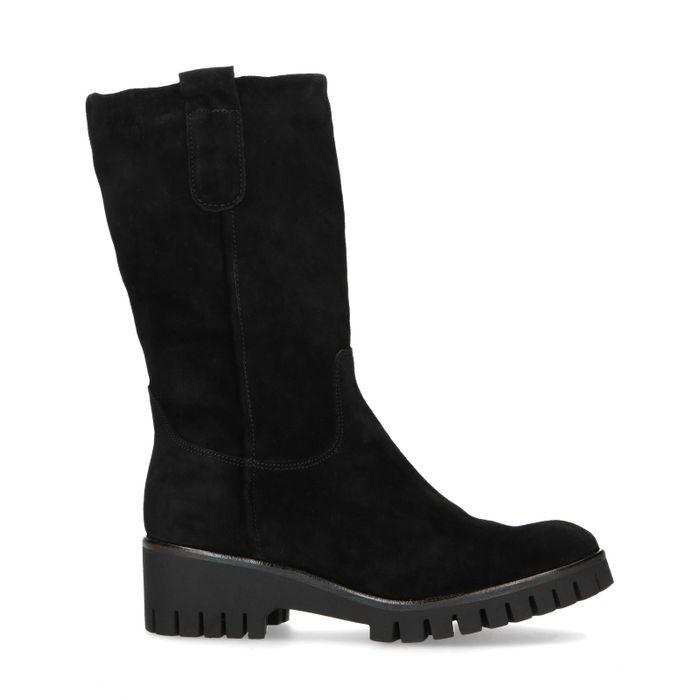Zwarte suède laarzen met imitatiebont