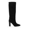 Zwarte suède laarzen met hoge hak