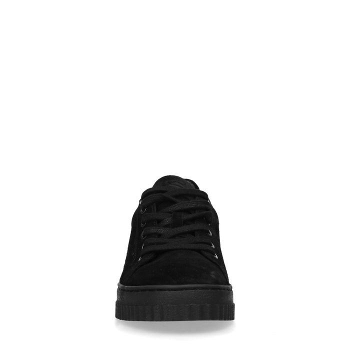 Zwarte platform sneakers van suède