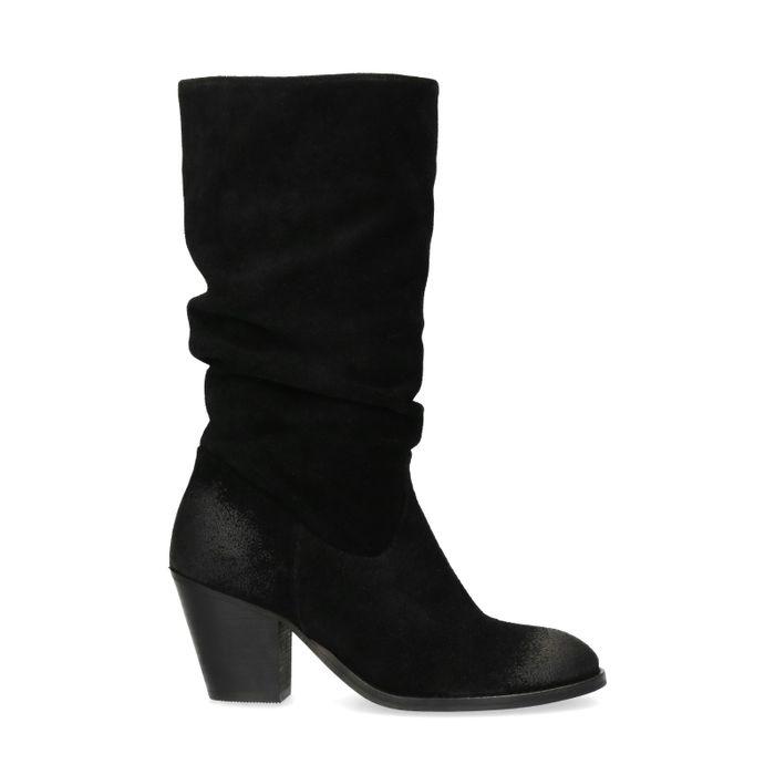Suède zwarte afzak laarzen