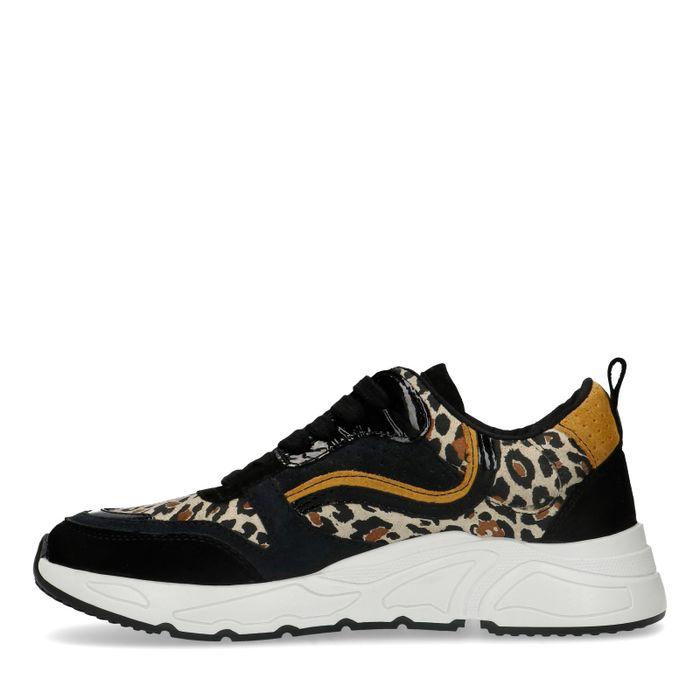 Zwarte dad sneakers met panterprint