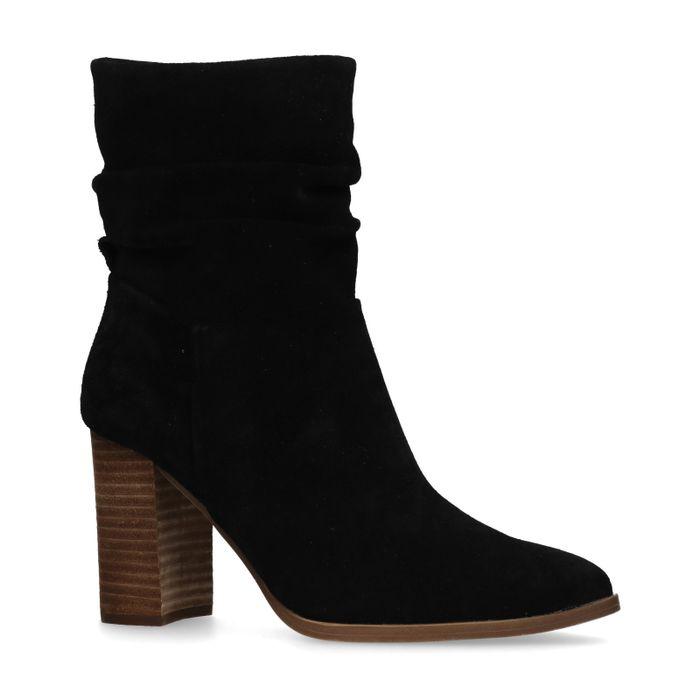 Zwarte suède korte laarzen met hak