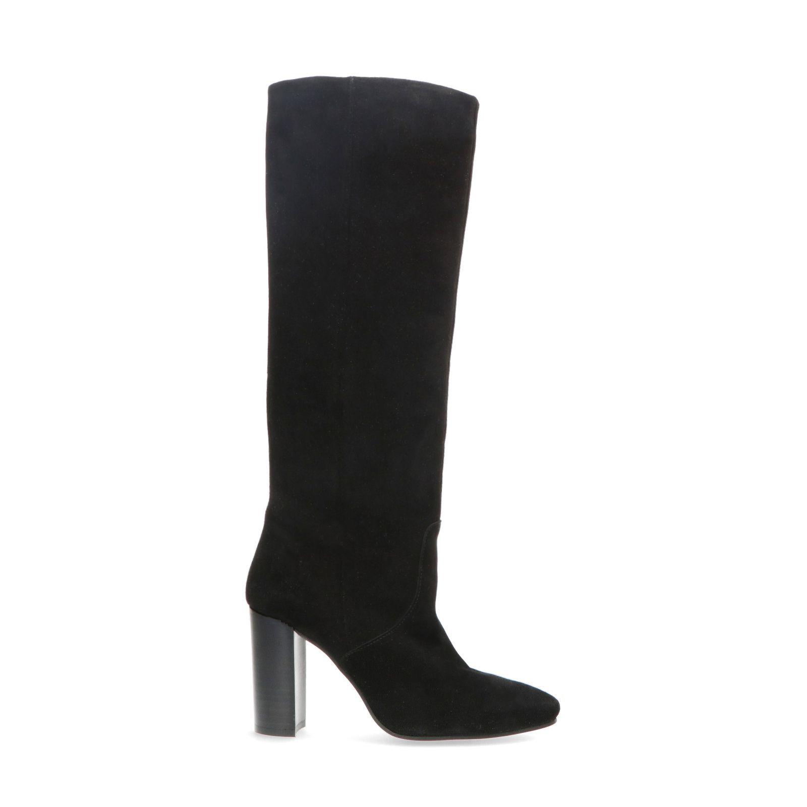 Hoge zwarte suède laarzen met hak Damesschoenen – SACHA
