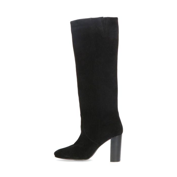 Hoge zwarte suède laarzen met hak