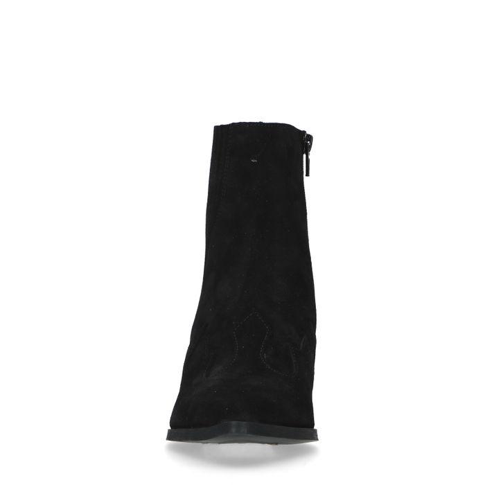 Zwarte suède cowboylaarzen met borduursels