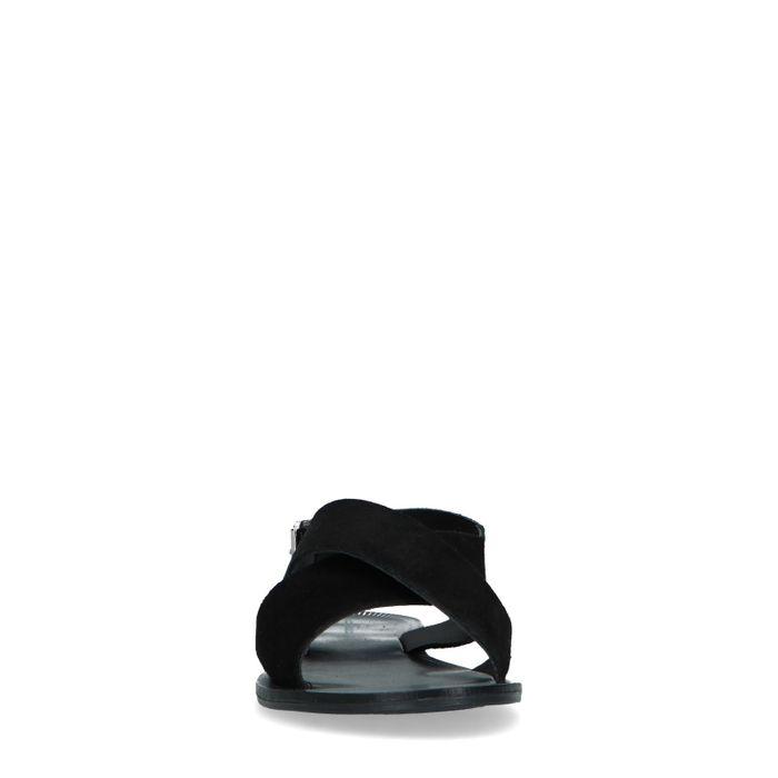 Zwarte suède sandalen met gevlochten banden