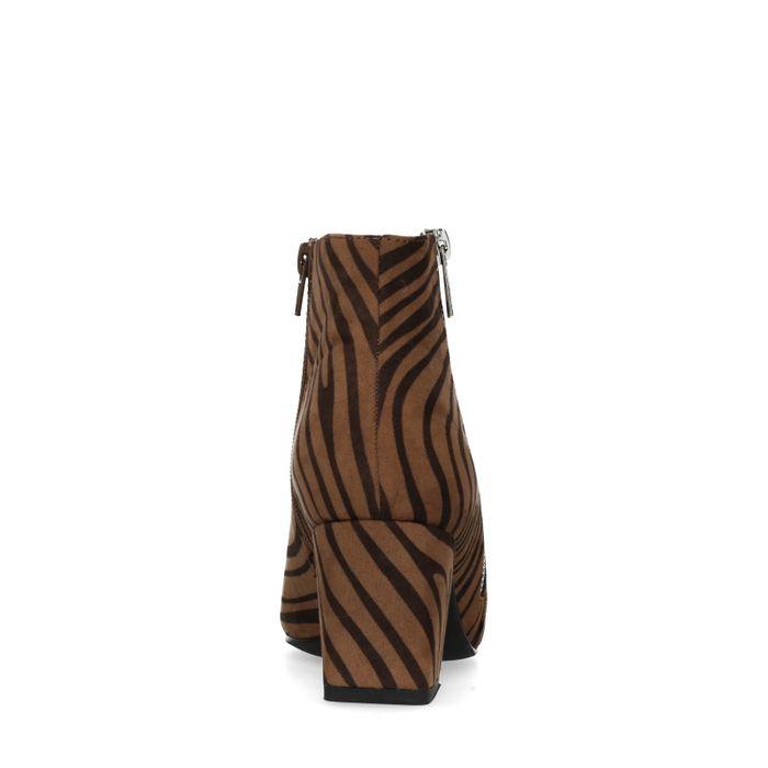 Bruine zebraprint enkellaarsjes met hak