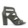 Donkergroene opengewerkte sandalen met hak