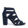Donkerblauwe opengewerkte sandalen met hak