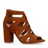Cognac opengewerkte sandalen met hak