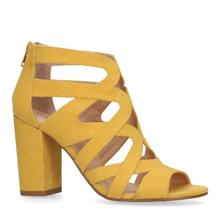 Gele opengewerkte sandalen met hak