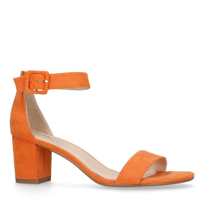 Oranje sandalen met hak