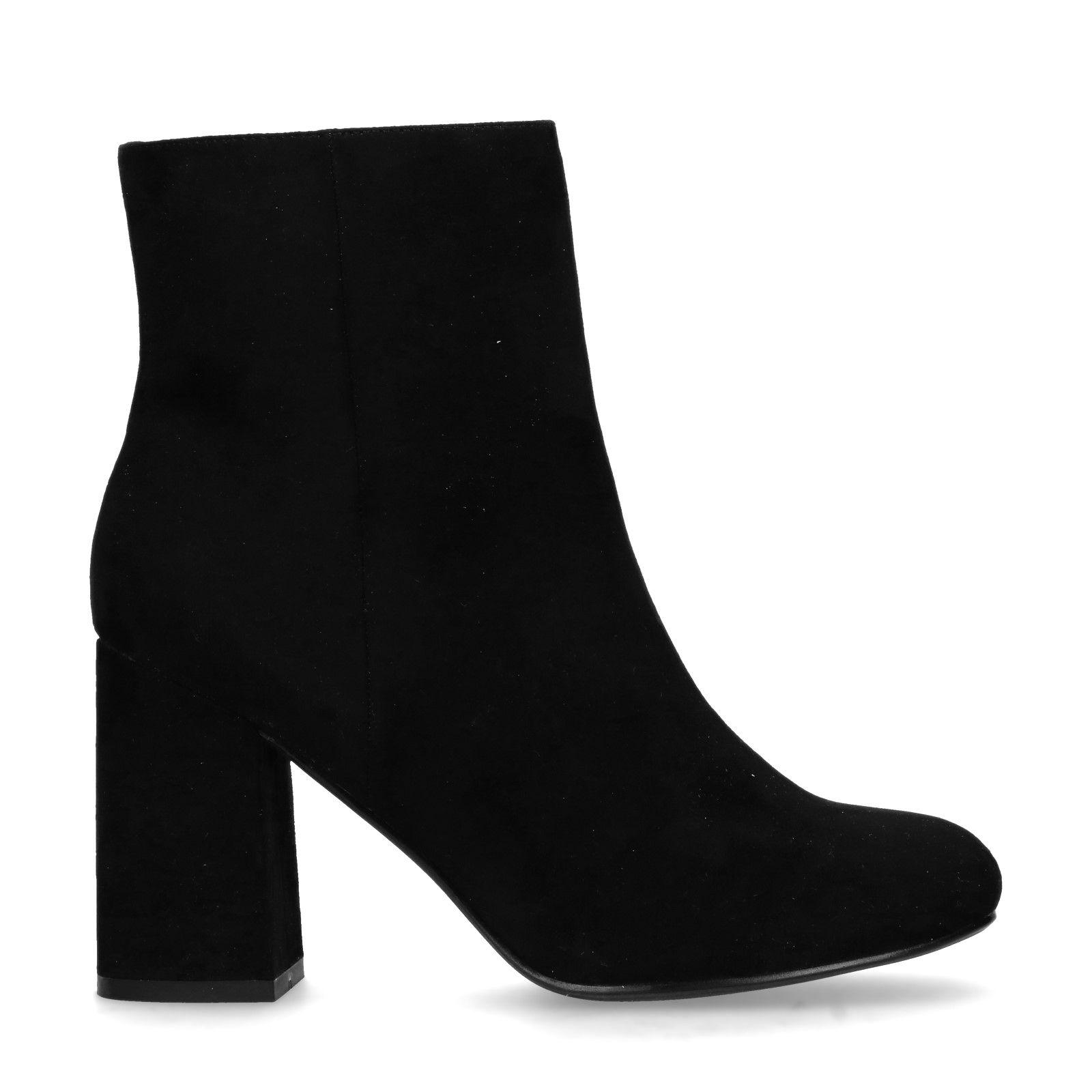 Zwarte suedine enkellaarsjes Damesschoenen – SACHA