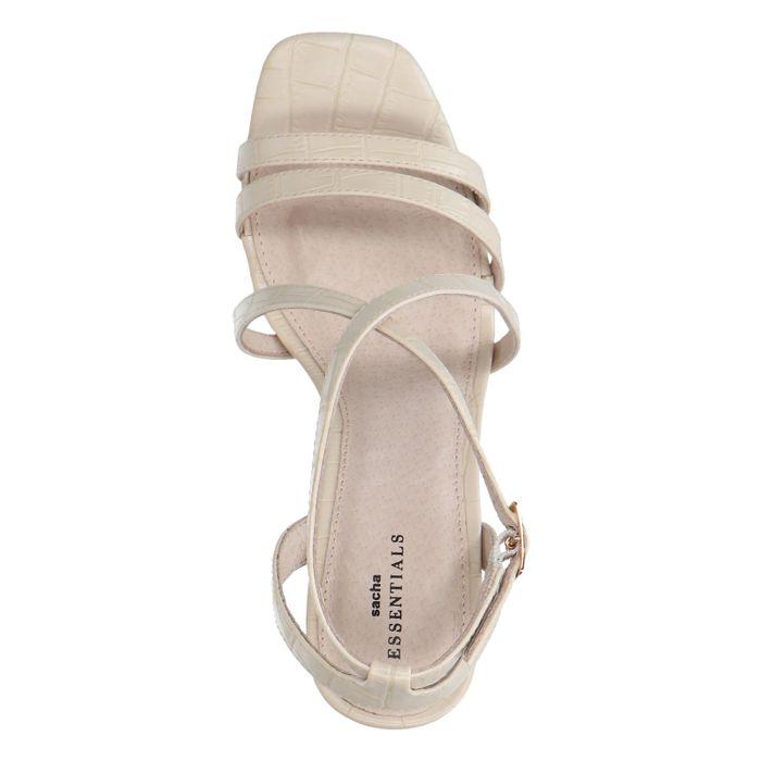 Beige crocoprint sandalen met hak