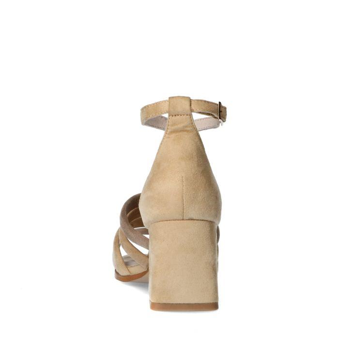 Beige sandalen met gekleurde bandjes