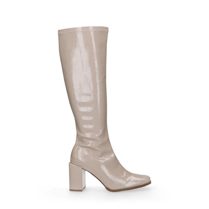 Beige hoge laarzen met lak look