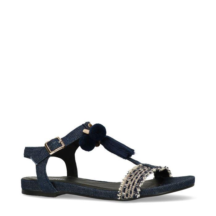 Jeans sandalen met franjes