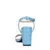 Blauwe crocoprint sandalen met hak