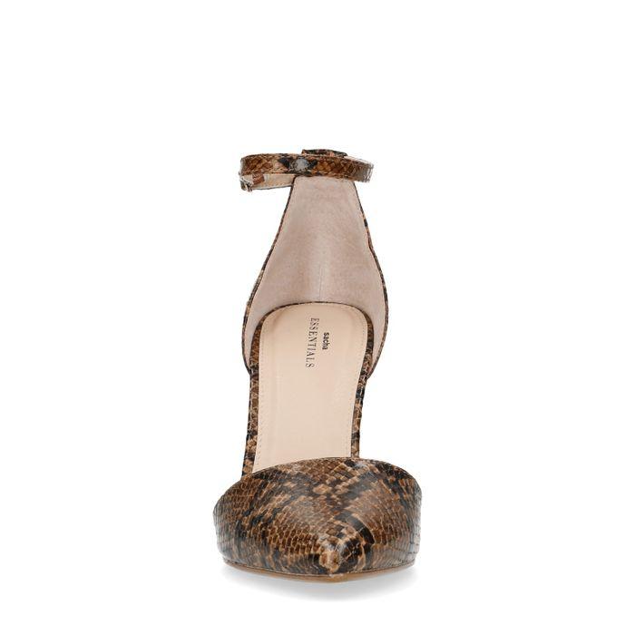 Gesloten pumps met bruine snakeskin