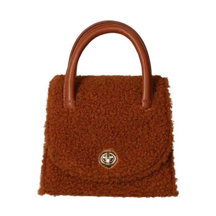 Camelkleurige teddy mini bag