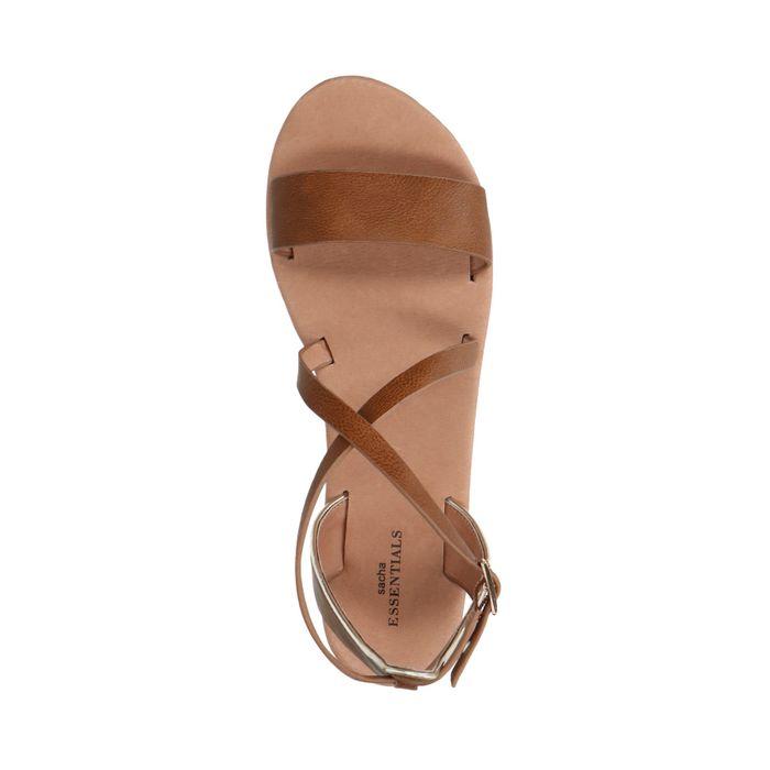 Cognac sandalen met gespsluiting