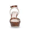 Cognac sandalen met blokhak en crocoprint
