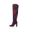 Donkerblauwe overknee laarzen met bloemen