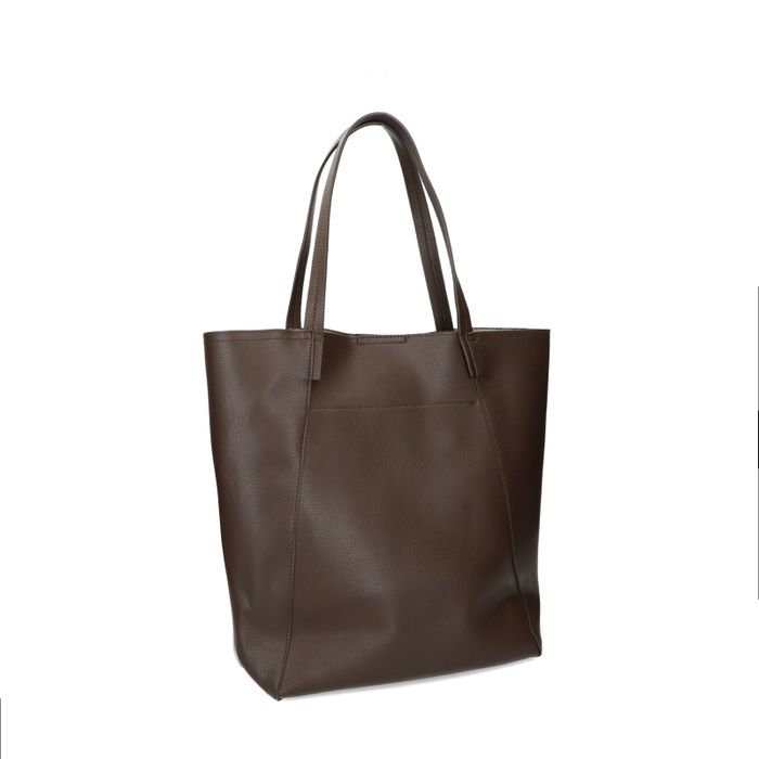 Donkerbruine shopper met crocoprint