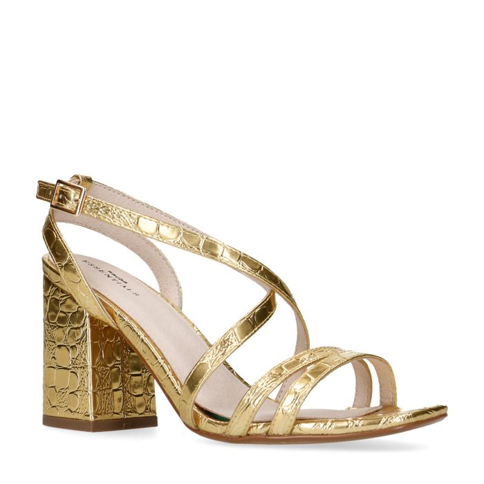 Goudkleurige metallic sandalen met hak