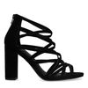 Zwarte opengewerkte sandalen met hak