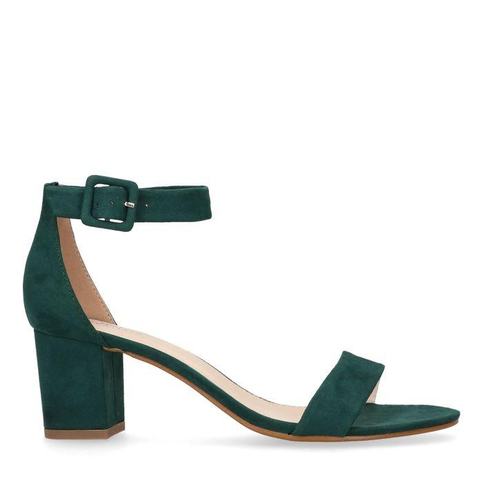 Groene sandalen met hak en gesp