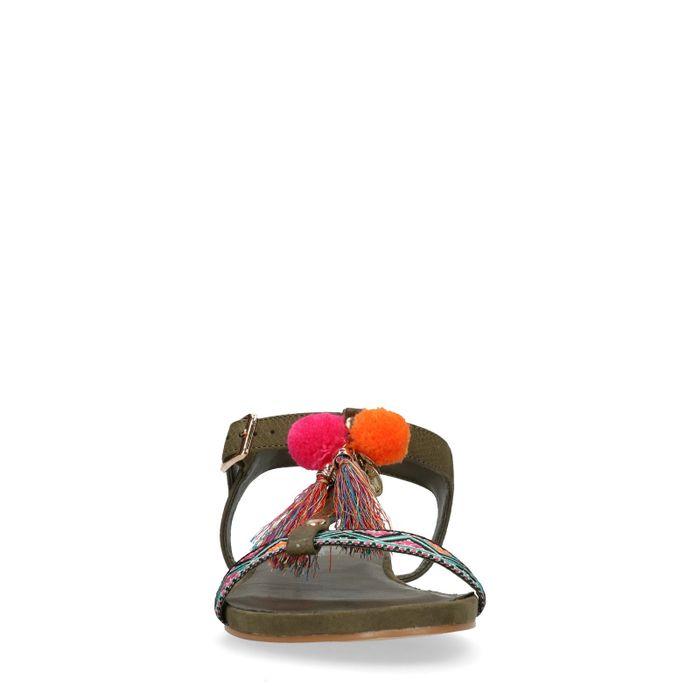 Donkergroene sandalen met pompons