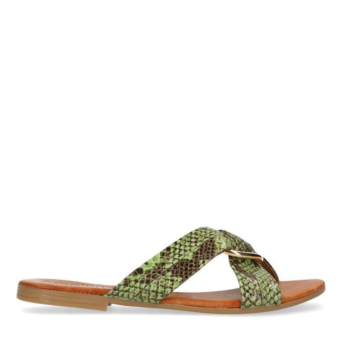Groene slippers met snakeskin