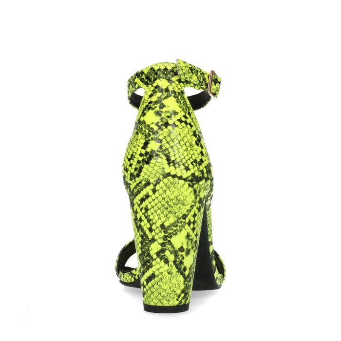 Neon groene snakeskin sandalen met hak