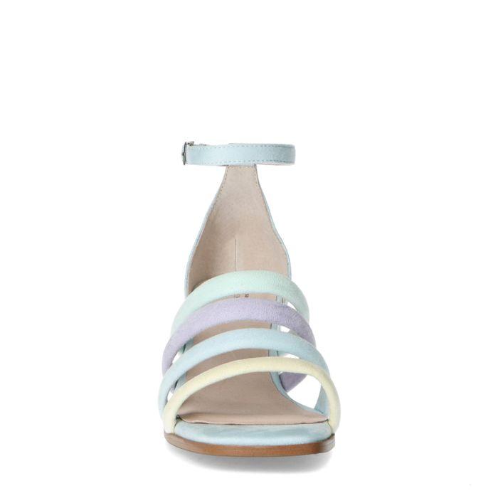 Lichtblauwe sandalen met gekleurde bandjes