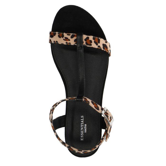 Zwarte panterprint sandalen