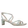 Mint crocoprint sandalen met smalle hak